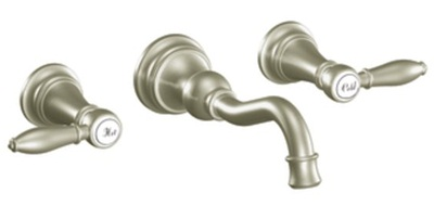 Moen TS42106BN Weymouth Two Lever Handle High Arc Wall Mount Lavatory Faucet Trim -  Brushed Nickel