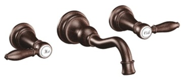 Moen TS42106ORB Weymouth Lavatory Double Handle Wall Mounted Bathroom Faucet - Oil Rubbed Bronze