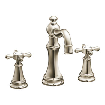 Moen TS42114NL Weymouth Two Cross Handle High Arc Lavatory Faucet - Nickel