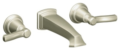Moen TS6204BN Rothbury Lavatory Double Handle Wall Mounted Faucet - Brushed Nickel