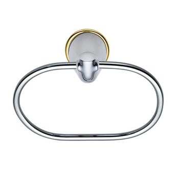 Moen YB3686CP Villeta Towel Ring Chrome/Polished Brass