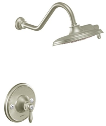 Moen TS32102BN Weymouth Single Handle Shower Only Trim with Rainshower Showerhead - Brushed Nickel