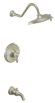 Moen TS32104EPBN Weymouth Single Handle Rainshower Showerhead and Tub Spout - Brushed Nickel