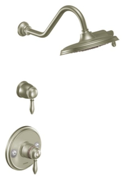 moen ts32112bn weymouth double handle shower trim with rainshower showerhead brushed nickel. Black Bedroom Furniture Sets. Home Design Ideas