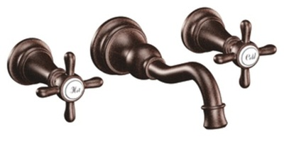 Moen TS42112ORB Weymouth Two Cross Handle High Arc Wall Mount Lavatory Faucet Trim - Oil Rubbed Bronze