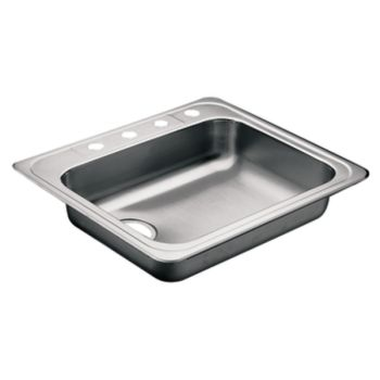Moen 22130 Commercial 20 Gauge Single Basin Kitchen Sink - Stainless Steel