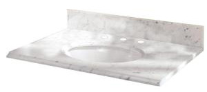 Pegasus 25108 25 in Marble Vanity Top with White Bowl and 8 in Faucet Spread - Carrara