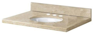 Pegasus PE25996 25 in Travertine Vanity Top with Bowl & 8 in Faucet Spread - Ivory Select