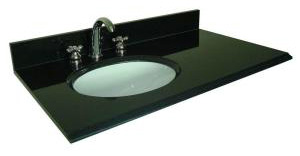Pegasus 39684 37 in W Granite Vanity Top with Offset Left Bowl and 8 in Faucet Spread - Black