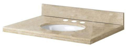 Pegasus PE49996 49 in Travertine Vanity Top with Bowl & 8 in Faucet Spread - Ivory Select