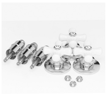 Pfister S10-330 3 Handle Shower Replacement Kit - Chrome w/ Porcelain Cross Handles