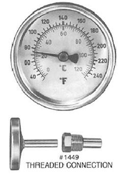 Pasco 1449 Dial Thermometer with Brass Well