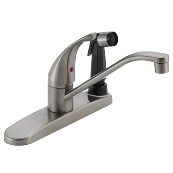 Peerless P114LF-SS Single Handle Kitchen Faucet with Integrated Side Spray - Stainless Steel