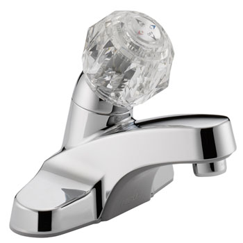 Peerless P130LF Single Acrylic Handle Centerset Lavatory Faucet without Pop Up Drain - Chrome