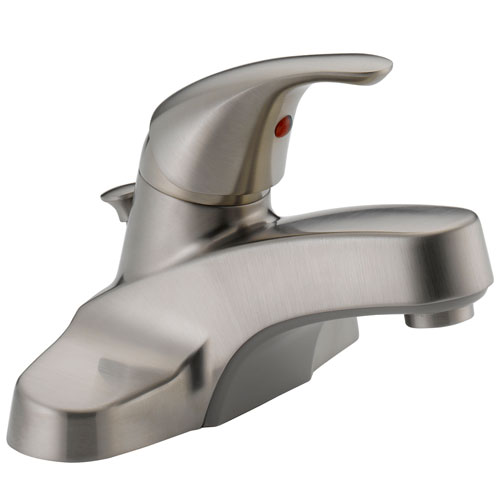 Peerless P136LF-BN Single Lever Handle Centerset Lavatory Faucet with Plastic Pop Up Drain - Brushed Nickel