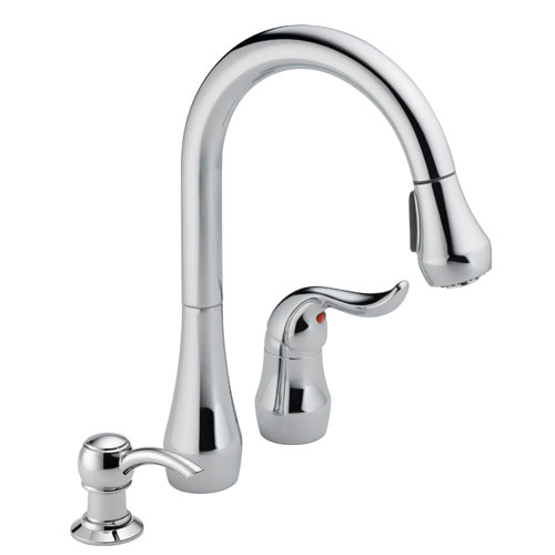 Peerless P188102LF-SD Single Handle Pull Down Kitchen Faucet with Soap Dispenser - Chrome