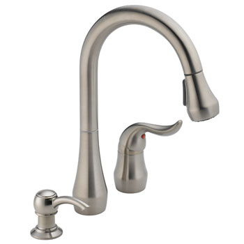Peerless P188102LF-SSSD Single Handle Pull Down Kitchen Faucet with Soap Dispenser - Stainless Steel
