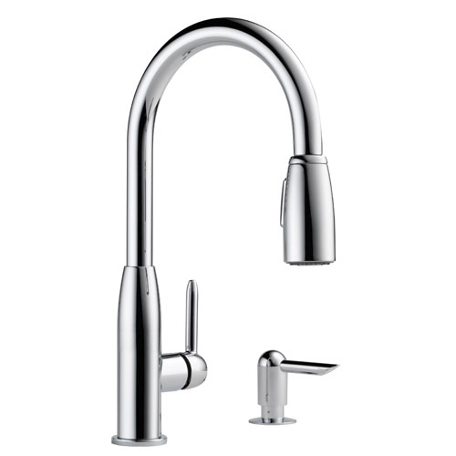 Peerless P188103LF-SD Contemporary Pull Down Kitchen Faucet with Soap Dispenser - Chrome