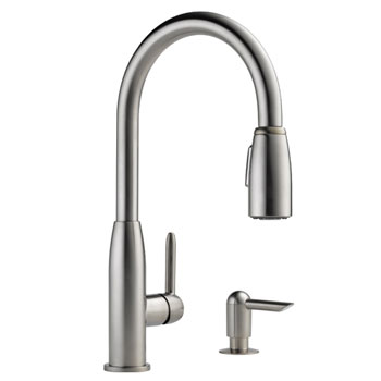 Peerless P188103LF-SSSD Contemporary Pull Down Kitchen Faucet with Soap Dispenser - Stainless Steel