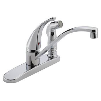 Peerless P188400LF Single Handle Kitchen Faucet with Integrated Side Spray - Chrome