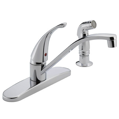 Peerless P188500LF Single Handle Kitchen Faucet with Side Spray - Chrome