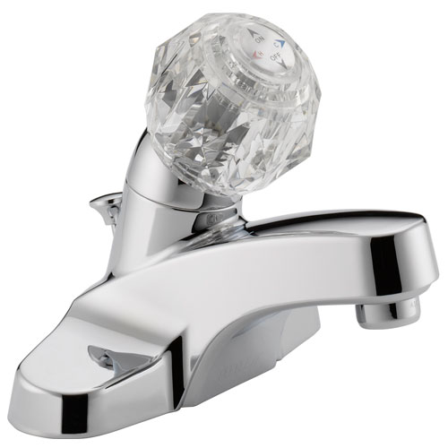 Peerless P188621LF Single Acrylic Handle Centerset Lavatory Faucet with Plastic PopUp Drain - Chrome