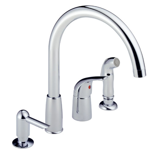 Peerless P188900LF-SD Waterfall Kitchen Faucet with Side Spray & Soap Dispenser - Chrome