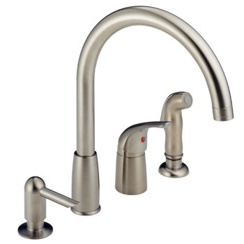 Peerless P188900LF-SSSD Waterfall Kitchen Faucet with Side Spray & Soap Dispenser - Stainless Steel