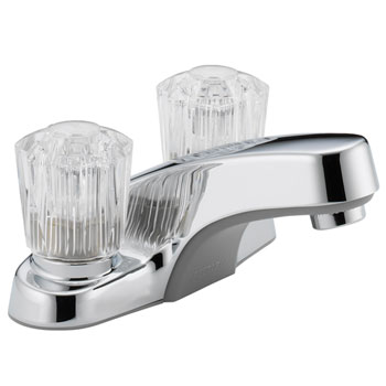 Peerless P240LF Two Acrylic Handle Centerset Lavatory Faucet without Pop Up Drain - Chrome