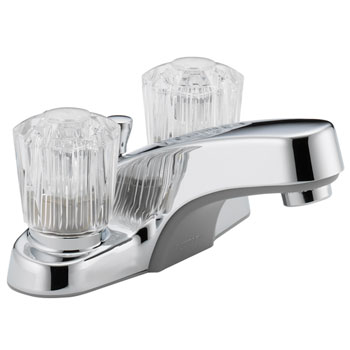 Peerless P245LF Two Acrylic Handle Centerset Lavatory Faucet with Plastic Pop Up Drain - Chrome