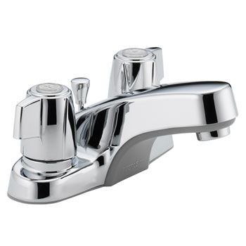 Peerless P246LF Two Tea Cup Handle Centerset Lavatory Faucet with Plastic Pop Up Drain - Chrome