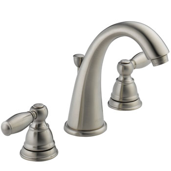 Peerless P299196LF-BN Two Traditional Handle J Spout Widespread Lavatory Faucet - Brushed Nickel