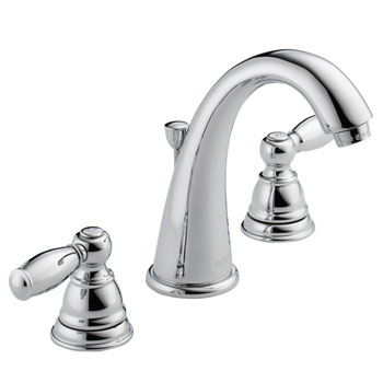 Peerless P299196LF Two Traditional Handle J Spout Widespread Lavatory Faucet - Chrome