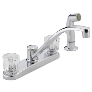 Peerless P299501LF Two Acrylic Handle Kitchen Faucet with Side Spray - Chrome
