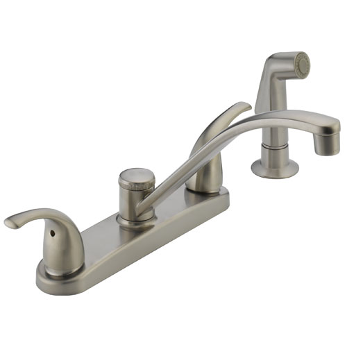 Peerless P299508LF-SS Two Metal Lever Handle Kitchen Faucet with Side Spray - Stainless Steel