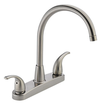 Peerless P299568LF-SS Two Lever Handle Kitchen Faucet High Arc - Stainless Steel
