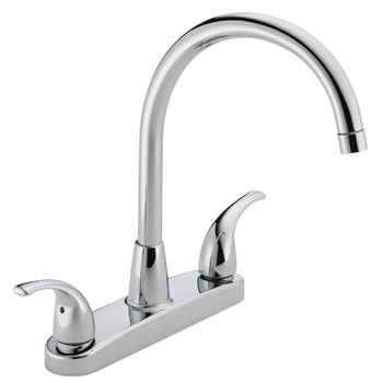 Delightful Peerless P299568LF Two Lever Handle Kitchen Faucet High Arc   Chrome