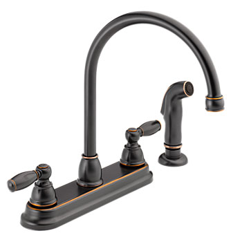 Peerless P299575LF-OB Two Traditional Lever Handle High Arc Kitchen Faucet with Side Spray - Oil Rubbed Bronze