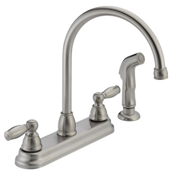 Peerless P299575LF-SS Two Traditional Lever Handle High Arc Kitchen Faucet with Side Spray - Stainless Steel