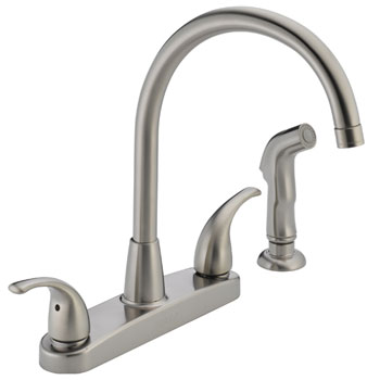 Peerless P299578LF-SS Two Lever Handle Kitchen Faucet High Arc with Side Spray - Stainless Steel