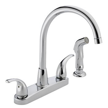 Peerless P299578LF Two Lever Handle Kitchen Faucet High Arc with Side Spray - Chrome