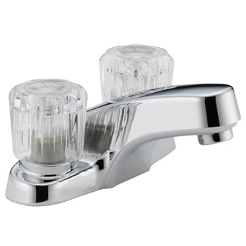Peerless P299601LF Two Acrylic Handle Centerset Lavatory Faucet without Pop Up Drain - Chrome