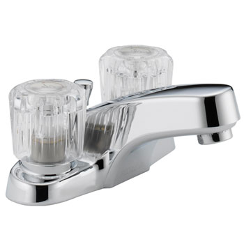 Peerless P299621LF Two Acrylic Handle Centerset Lavatory Faucet with Plastic Pop Up Drain - Chrome