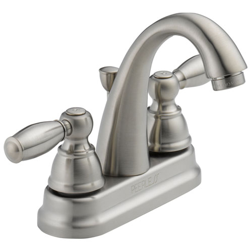 Peerless P299696LF-BN Two Traditional Handle J Spout Centerset Lavatory Faucet - Brushed Nickel