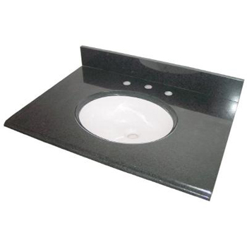 Pegasus 31684 31 x 22 Granite Vanity Top With White Bowl in Black