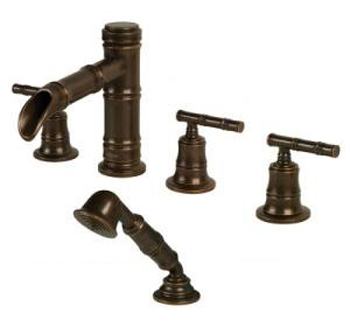 Pegasus 879-0096 Bamboo Series Two Handle Roman Tub Set with Hand Shower - Heritage Bronze