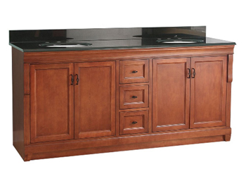 Pegasus NACAT7222D Naples 72 Inch Vanity with Black Granite in Warm Cinnamon