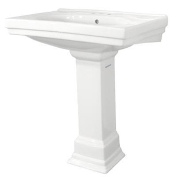 Pegasus F-1950-4-WH Series 1950 3 Holes on 4 Inch Structure Suite Pedestal Lavatory Sink Only White