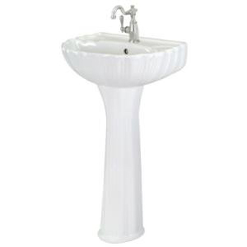 Pegasus FL-08A-W Brielle Single Hole Lavatory Pedestal Sink in White