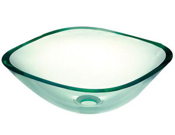 Pegasus SF-01 Square Glass Vessel Sink in Clear